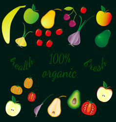 various fruits and vegetables on dark background vector image
