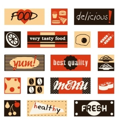 Vintage food pictures and titles vector