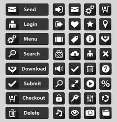 Web design buttons set black vector