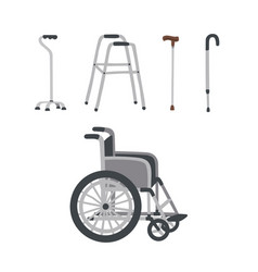 wheelchair cane crutch walkers walking stick vector image