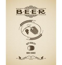 beer ornate hops design background vector image vector image