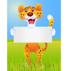 chetah with blank sign vector image
