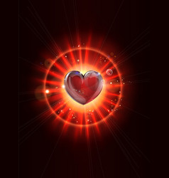 dynamic light rays heart vector image