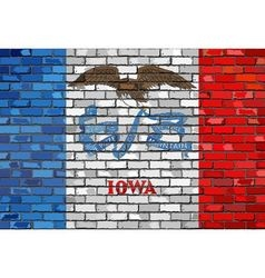 Flag of Iowa on a brick wall vector image vector image
