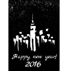 New Year in city vector image