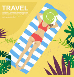Young woman lying on her towel on tropical beach vector