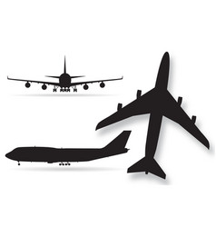 airplane silhouettes isolated on white background vector image