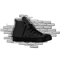 drak gray sneakers on a background of a gray brick vector image vector image