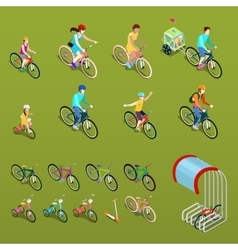 Isometric People on Bicycles vector image vector image