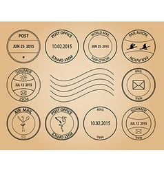 post stamps on aged background vector image
