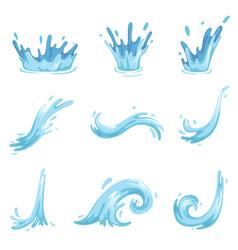set of blue waves and water splashes wavy symbols vector image