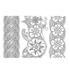 Set of vertical seamless pattern floral borders vector image vector image