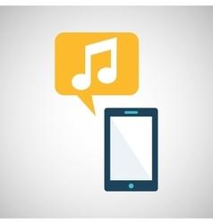 smartphone blue cartoon music bubble speech vector image