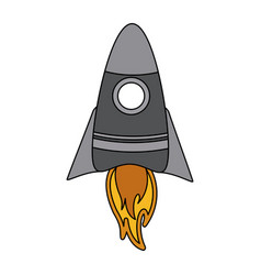 color graphic cartoon rocket space ship take off vector image