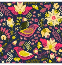 Decorative floral background with flowers and vector image
