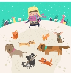 Girl dog-walker taking pack of dogs for a walk vector image vector image