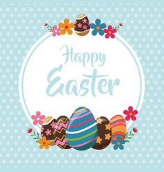 happy easter eggs decoration poster vector image