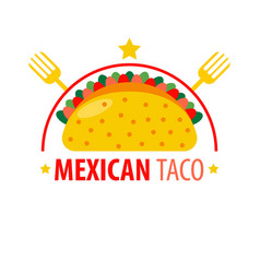 mexican dish taco logo sign isolated on white vector image