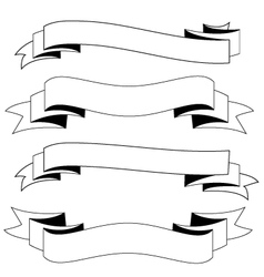 Ribbons black and white vector image