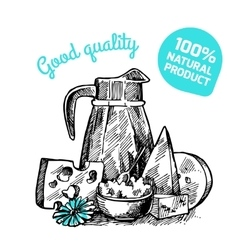 still life with milk product vector image