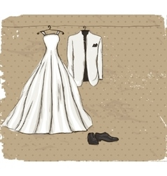 Vintage poster with with a wedding dress vector image vector image