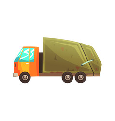 garbage truck waste recycling and utilization vector image vector image