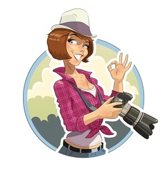 Photographer girl with camera vector image vector image