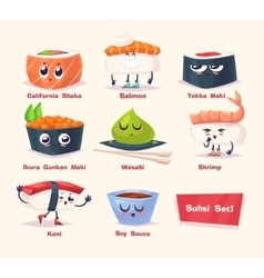Sushi set Soy sauce and sushi roll Japanese food vector image