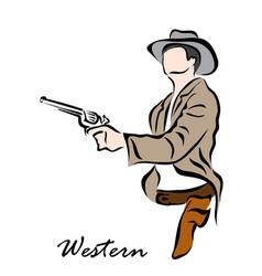 western cowboy vector image