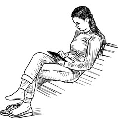 A girl reads book on park bench vector