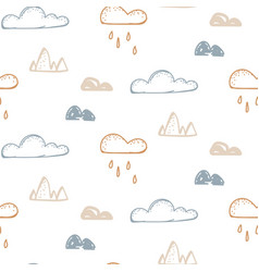 abstract baby seamless neutral pattern with clouds vector image