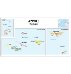 Administrative map azores islands vector