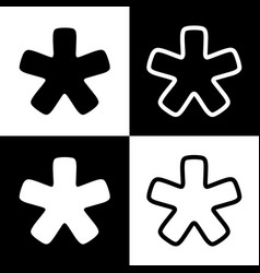 Asterisk star sign black and white icons vector