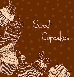 Background with sweet cupcakes vector image