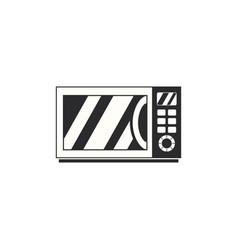 Black and white retro microwave icon vintage vector
