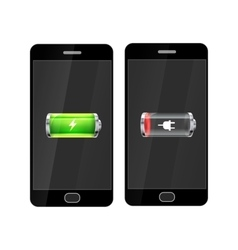 Black smartphones with full and empty glossy vector image