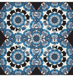 Blue Seamless Mandala Wallpaper Round frame vector image