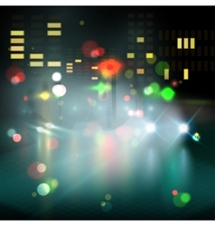 Blured lighhts in city night vector