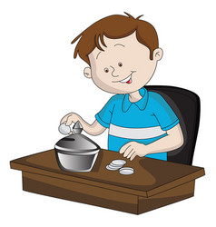 Boy saving money in piggy bank vector