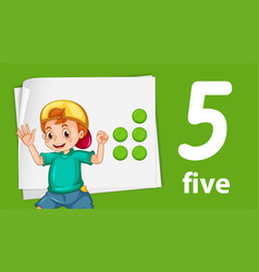 Boy with number five banner vector