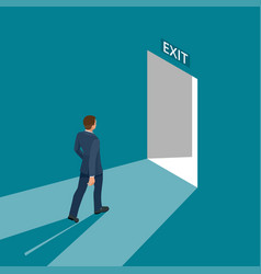 businessman going exit door sign emergency vector image