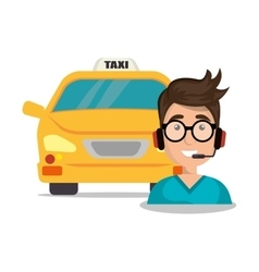 call center man young taxi service vector image