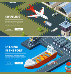 cargo concept banners horizontal pictures of vector image