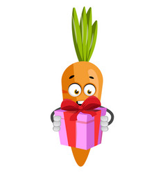 carrot with birthday present on white background vector image
