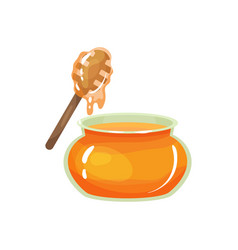 cartoon glass jar of honey with wooden drizzler vector image