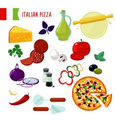 Cartoon italian pizza ingredients set vector