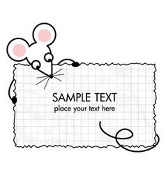 Cartoon mouse with a frame vector