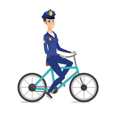 caucasian police officer on bicycle vector image
