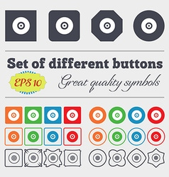 CD or DVD icon sign Big set of colorful diverse vector