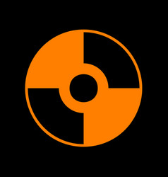 cd or dvd sign orange icon on black vector image
